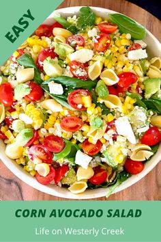Corn avocado salad is filled with grilled corn, tomatoes, and avocado. This is the perfect summer salad! The delicious lemony feta vinaigrette is the perfect dressing! I made this as a gluten-free salad, but you can make with regular pasta if you prefer! #glutenfreesalad #cornavocadosalad #cornavocadotomatosalad #salad #easysalad Salad Recipes For Dinner, Healthy Salad Recipes, Whole Food Recipes, Delicious Recipes, Easy Salads, Summer Salads, Avocado Tomato Salad, How To Cook Corn, Easy Family Meals