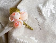 Champagne gold peonies flower wedding BOUTONNIERE custom corsage brocade ribbon peony - pinned by pin4etsy.com