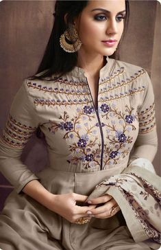 Taupe Muslin Floral Embroidered Designer Anarkali Suit with Palazzo Embroidery Suits Punjabi, Kurti Embroidery Design, Embroidery Dress, Dress Neck Designs, Designs For Dresses, Blouse Designs, Kurta Neck Design, Kurta Designs Women, Indian Fashion Dresses