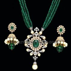 Jewellery Designs: PC Jewellers Emeralds Beads Set