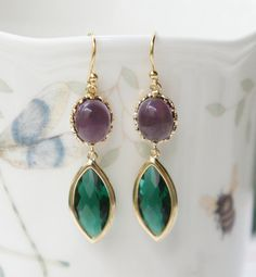 Gold Famed Purple Oval Connector And Dark Emerald by PinkforYou, $23.50