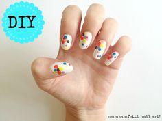 neon polka dot nail art DIY