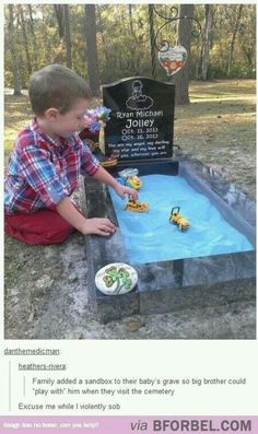 So sad but so beautiful how the baby's big brother plays in the sandbox to play with him I'm really crying! Why is life so sad at times?