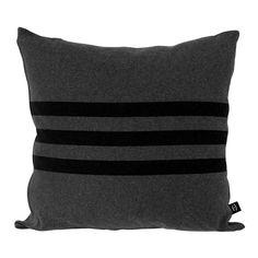 For the Brackley cushion we used three black stripes on dark grey to create a subtle beach vibe. The name of the cushion is taken from Prince Edward Island's, Brackley Beach. We spent a day there once and have wanted to return ever since.  Our 100% cotton cushion covers are knitted and sewn in Canada. It's the type of