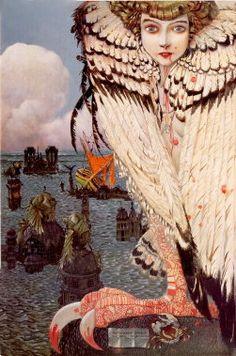 Sirènes étaient des êtres symbolisant les âmes des morts, figurés d'abord en oiseaux à tête humaine. Elles charmaient les hommes de leurs chants mélodieux pour les entrainer vers une vaste prairie, couverte des ossements et de chairs desséchées des infortunés marins qui les avaient précédés, et ils y périssaient bientôt. A partir du Moyen Age, sans doute au contact des légendes des contrées nordiques, elles furent représentées en femmes à queue de poisson.