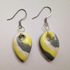 Yellow Striped Dangle Earrings - Cascading Gems