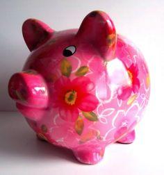 spaarpot varken xl roze met bloemen