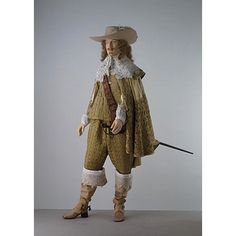 """Formal ensemble ca. via The Victoria & Albert Museum """"This ensemble demonstrates fashionable formal dress for men in the late and early The breeches are long and fairly full in. 17th Century Clothing, 17th Century Fashion, 16th Century, Baroque Fashion, French Fashion, Vintage Fashion, Historical Costume, Historical Clothing, Luis Xiv"""