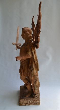 Antique Wood Carved Saint Michael The Archangel Very RARE Sculpture 30'' Tall | eBay