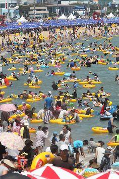 Positively crowded at Haeundae Beach in Busan, Korea!