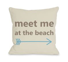 Meet Me at The Beach Throw Pillow