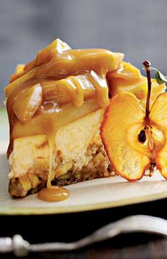 Recipe for Caramel Apple-Brownie Cheesecake - Combine two of fall's favorite flavors—caramel and apples—in this decadent cheesecake. The crust is an apple filled brownie, and the creamy cheesecake is topped with a caramel-apple topping and a rich caramel sauce.