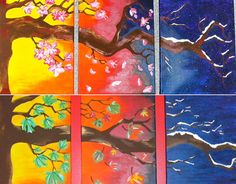 Custom Tree with Seasons Triptych Colorful Acrylic Painting 9x12 or 11x14 inches with Flowers or Leaves, Nature Painting, Triptych Painting  **All