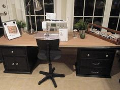 Sew Many Ways...: Tool Time Tuesday...New Sewing Table made with two old end tables and a hollow core door.