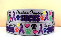 1 yard Canine Cancer Sucks  Purple Ribbon   1 inch  by chanell318, $1.49 Purple Ribbon, Bichon Frise, Awareness Ribbons, Service Dogs, Cuff Bracelets, Puppies, Dog Collars