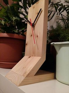 Table clock, wooden clock, watch, wood clock, wooden table clock, desk clock