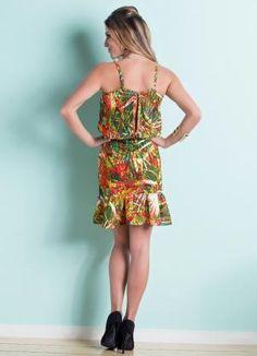 Vestido de Alça Babado na Barra (Tropical)