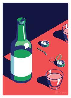 """친숙하지만 새로운 시선, 외국작가가 그린 서울의 밤문화 일러스트 불고기(Korean BBQ) """"불금! A Nig..."""