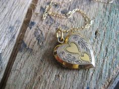 Vintage Locket Necklace / Deco Heart Necklace / by RefugeHeart Gold filled on Sterling silver / engrave