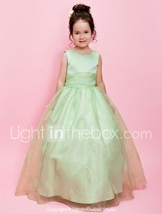 Lanting Bride ® A-line / Ball Gown Floor-length Flower Girl Dress - Organza / Satin Sleeveless Jewel with Beading 2017 - Rs4919