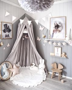 Love this beautiful kid's room! Linen canopy, Miffy lamp and Vita Eos lamp - Project Nursery - meadoria Baby Bedroom, Baby Room Decor, Nursery Room, Girl Nursery, Girls Bedroom, Bedroom Ideas, Nursery Ideas, Bedroom Green, Bed Ideas