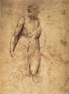 Raffaello-Raffaello-Studio del San Matteo di Michelangelo, ,circa 1507, penna e inchiostro, 31,9 x 23 cm,British Museum ,Londra