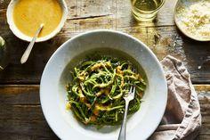 Green Spaghetti - spinach, cottage/cream cheese, milk, garlic, onions - only add the tiniest bit of milk to start!