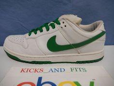 546cd7d692fdc 2005 Nike Dunk Low Pro SB White Classic Green Celtic St Patricks Day  304292-133