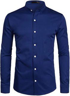ZEROYAA Mens Hipster Solid Slim Fit Long Sleeve Mandarin Collar Dress Shirts ZLCL08 Navy Small at Amazon Men's Clothing store Grandad Collar Shirt, Banded Collar Shirts, Mandarin Collar Shirt, Fall Shirts, Button Down Dress, Collar Dress, Dress Shirts, Shirt Designs, Menswear