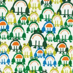 Frogs from Happy Drawing Cloud9 Organic by sewfreshfabrics etsy