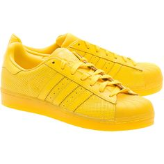 ADIDAS ORIGINALS Superstar Adicolor Yellow // Flat leather sneakers ($110) ❤ liked on Polyvore featuring shoes, sneakers, yellow sneakers, 80s sneakers, adidas originals trainers, leather shoes and genuine leather shoes