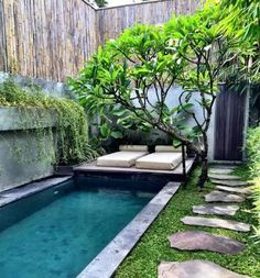If you are lucky enough to have a backyard, you have many possibilities. Even when you have a small backyard you can still fit into a small pool. When you have a small backyard, you can still get i… Small Backyard Design, Small Backyard Gardens, Small Backyard Landscaping, Patio Design, Backyard Patio, Landscaping Ideas, Small Backyards, Backyard Designs, Modern Landscaping