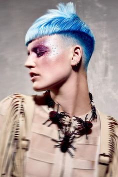 www.estetica.it Blue Hair Hair: Shayna Knittel, Florian Knittel, shy+flo creative team / Styling: Patrick Häusermann / Make up: Demaria / Photo: Karine & Oliver