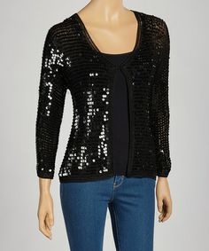 Take a look at this Black Sequin Cardigan by Zashi on @zulily today!