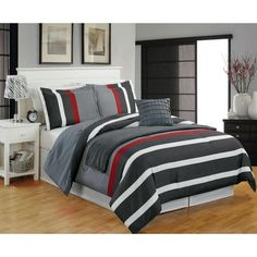 Modern Teen Boys Microfiber Striped Grey Red 5-PC Comforter Set Twin Full/Queen
