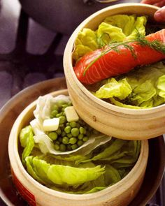 Steamed Salmon with Peas