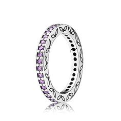 PANDORA | Purple Thin Eternity Ring Light pink cubic zirconia adorn this sterling silver ring with ornate detailing. No. 190618CFP Metal Silver Oxidized Color Purple Stone Cubic zirconia