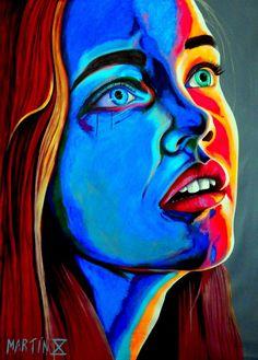 Martin X Art. Pop art. Retratos. Fluorescente. Colorido. Rostros. mujeres hermosas. expresionismo. arte moderno. decoración.@MartinXArt