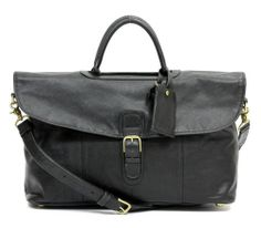 Coach Black Leather Top Handle Weekender  Bag