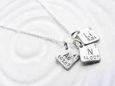 Itty Bitty Jewelry - Periodic Table Element Necklace - Hand Stamped, Personalized Jewelry - Spell with Elements - Science Gift -Geek Gift Delicate Jewelry, I Love Jewelry, Jewelry Design, Jewelry Making, Women's Jewelry, Jewelry Ideas, Jewelry Gifts, Fashion Jewelry, Unique Jewelry
