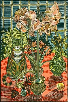 Amaryllis, linocut by Richard Bawden, 2012 Art And Illustration, Illustrations, Linocut Prints, Art Prints, Cat Drawing, Cat Art, Art Forms, Printmaking, Art Gallery