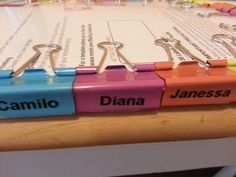 Binder clips and clear dymo label maker