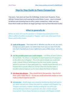 GCSE English Literature Step By Step Guide to Poetry Comparison by Joynul Haque - GCSE English Literature Step By Step Guide to Poetry Comparison by Joynul Haque by JoynulHaqu - English Literature Poems, Teaching Literature, English Writing, English Reading, American Literature, English Gcse Revision, Gcse English Language, Exam Revision, Language Arts