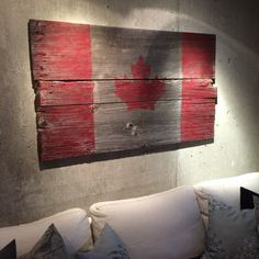 A client came into the shop with an idea for a project - the Canadian flag on barn board. We looked for just the right boards with worn edges and lots of character and even some nails left near the ends. The next day we received a picture of the boards put together, painted and hung on a loft wall. What a great idea and result! These are now available for sale - email us through the website for details