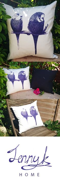 'We're too cute' Budgie Cushion. Unique handmade cushion capturing the quirky little characters of two budgies.   The budgie print to the front captures a variety of blue tones, so you really get a sense of perspective. Printed onto white half panama fabric, this unique design is practical too. The reverse of the cushion is plain Navy blue linen, giving you a choice of cushion colours.   Buy on eBay for £14.99 http://www.ebay.co.uk/itm/BUDGIE-BIRD-CUSHION-COVER-Handmade-in-UK-Blue-White-/2