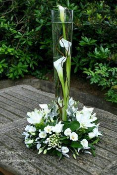 Beautiful White Flower Arrangements In Your Wedding - Centerpieces - Winter Flower Arrangements, Wedding Arrangements, Floral Arrangements, Contemporary Flower Arrangements, Table Arrangements, Ikebana, Floral Centerpieces, Wedding Centerpieces, Wedding Bouquets