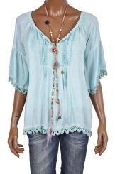 Boho blouse/tuniek met zwierige mouwen FLUZ pistache