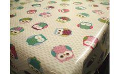 Cute Vintage Owls Multi Cotton Oilcloth Tablecloth