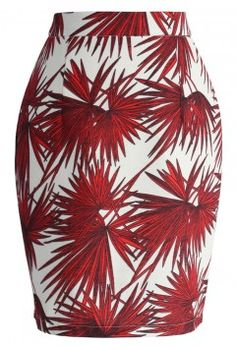 Botanic Sketch Pencil Skirt in Red - Retro, Indie and Unique Fashion