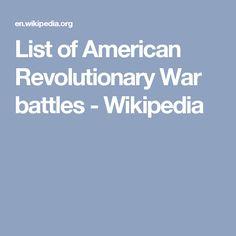 List of American Revolutionary War battles - Wikipedia